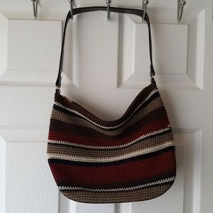 The sak multi colored striped hand knitted handbag